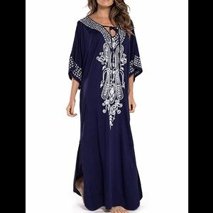🆕 Cotton Dark Blue Kaftan/Tunic/Maxi Dress